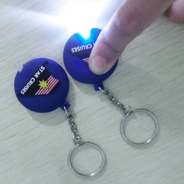 Quality One Double Sided Soft PVC Keychain , High Brightness LED Flashlight Keychain for sale