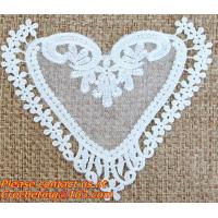 Buy cheap White Black Fabric Heart Lace Flower Floral Motif Sewing Trim Applique from wholesalers