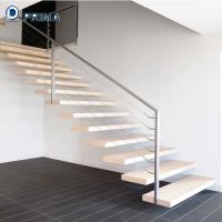 Buy cheap indoor I shaped wood tread floating staircase with cable railings  for sale from wholesalers