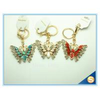 Buy cheap Rhinestones Butterfly Shape Keychain Zinc Alloy Gold Plated Animal Metal Crystal KeyChains Ring Holder from wholesalers