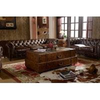 Buy cheap Wooden Legs With Wheels Soft Kingston Chesterfield Leather Sofa By Handwork Craft from wholesalers