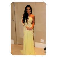 Buy cheap One Shoulder Long Evening Party Dresses , Yellow Lace Chiffon Dress from wholesalers
