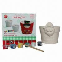 Buy cheap DIY Ceramic Christmas Snowman/Santa Flower Pot Painting Toys, Suitable for Promotions from wholesalers