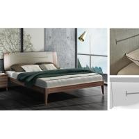 Buy cheap 2017 New design Upholstered Bedroom furniture By Italy Leather and Walnut solid wood Headboard in Hotel room from wholesalers