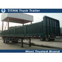 Buy cheap Reinforced 40 Tons side guard railing flatbed semi trailer with side wall from wholesalers