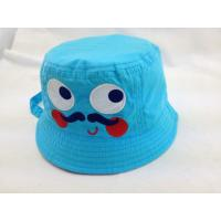 Buy cheap Infants Cotton Bucket Hat with Applique Blue Cartoon Style Flat top Cap from wholesalers