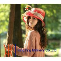 Buy cheap custom Red / Champagne Abaca Sinamay Ladies Hats With Bow Feathers from wholesalers