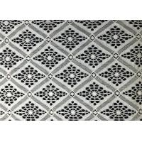 Buy cheap White Damond Shaped Enchanting Polyester Lace Fabric Roll / Floral Lace Fabric from wholesalers
