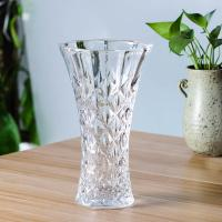 Buy cheap Fined Fire Polishing Clear Flower Vase 25cm 9 Inch Tall With Diamond Cut Pattern from wholesalers
