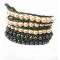 Buy cheap 82cm 5 rows Pearl beads Leather Wrap Bracelet / Semi Precious Beads Bracelet Wholesale from wholesalers