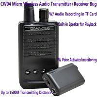 Buy cheap CW04 Mini Wireless Remote Audio Transmitter Receiver Spy Bug W/ Voice Recording in TF Card from wholesalers