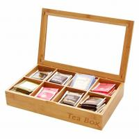 Buy cheap Multifunction Bamboo Storage Box , Wooden Tea Bag Organizer 8 Compartments from wholesalers