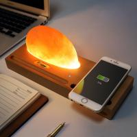 Buy cheap Beech Wireless Qi Charger Mineral Rock LED lamp Wireless Charging Pad for Smartphone from wholesalers
