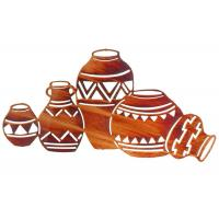 Buy cheap Contemporary Interior Metal Wall Sculpture Natives Pottery shape Rusty Finish product