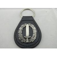 Buy cheap Die Casting Personalized Leather Keychains with 3D Zinc Alloy Emblem, Antique Silver Plating from wholesalers