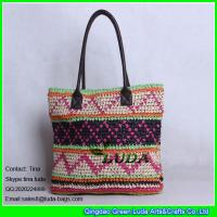 Buy cheap LUDA spainish straw handbag fashion crocheted pattern paper straw bag leather handles from wholesalers