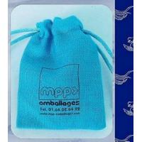 Buy cheap Blue Printed Jute Drawstring Pouch For Foot Packing Customized Logo from wholesalers