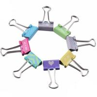 Buy cheap 19mm Promotional Custom OEM Printing Metal Silver Handle Binder Clips Different Kinds Paper Clips from wholesalers