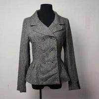 Buy cheap Slim Women's Casual Blazers , Turn Down Double - Breasted Gray Wool Peacoat product
