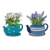 Buy cheap Customized Ceramic Garden Flower Pots , Hand Painted Giant Teacup And Saucer Planter from wholesalers