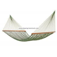 Foldable Wide Grass Green Rope Hammock With Solid Hardwood Bars Fade Resistant