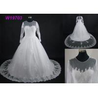 Buy cheap Real Pictures Beautiful A Line Ball Gown Wedding Dress With Long Sleeves And Train from wholesalers