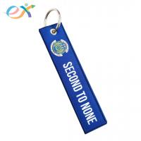 China Custom Woven Keychain Metal Ring Polyester Fabric Blue Rectangle Polyester Keychain on sale