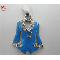 Buy cheap Simulated Coat Blue Metal Alloy Pendant Charm Necklace , Customized product