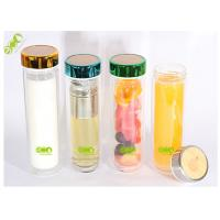 Buy cheap Eco - Friendly Double Walled Glass Water Bottle With Tea Filter  450ml from wholesalers