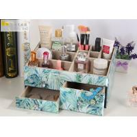 Buy cheap Square Desk Organiser Box / Glass Makeup Storage Box Tropical Rainforest Pattern from wholesalers