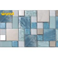 Buy cheap Blue Ice Cracked Mosaic Glass Kitchen Backsplash Tile With Stainless Steel from wholesalers