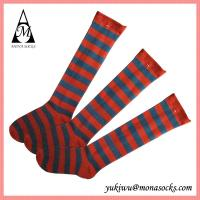 Buy cheap 100% Cotton Striped Girls Knee High Boot Socks from wholesalers