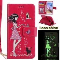 Buy cheap Samsung Luminous 3D Girl pattern leather Case with Cash Slots Stand Wristlet Strap from wholesalers