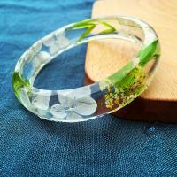 Buy cheap Vibrant Green Real Dry Clear Resin Flower Bracelet For Elegant Ladies product