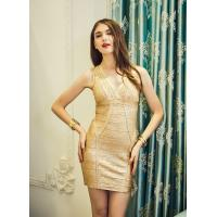 Buy cheap Claire Gold Silver Foil Print Bandage dress New fashion Lady Tank Mini Sexy Vestido Women Party Bodycon Dresses CS1918 from wholesalers