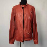 Buy cheap Anti Wrinkle Fashion Ladies Jackets , Soft Short Red Leather Jacket from wholesalers