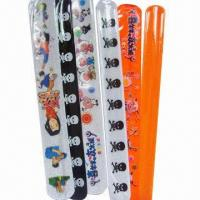 Buy cheap PVC slap bracelets, customized logo printings are accepted from wholesalers