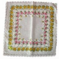 Buy cheap Handkerchief, Customized Designs and size are Accepted, Made of 100% Cotton from wholesalers