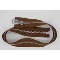Brown Polyester Tape Coats And Clark Separating Zippers , Silver 27 Inch Separating Jacket Zipper
