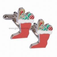 Buy cheap Christmas Cufflinks, Brass/Silver-plated, Hard Enamel Finishing, No Limited MOQ, In Various Design from wholesalers