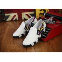 Buy cheap Elastic Tape Totem Patterns Canvas Sneakers Shoes Mens White Canvas Trainers No Lace from wholesalers