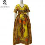 Buy cheap Modern African Print Dresses Dashiki For Elegant V - Neck Classical Print Sleeveless from wholesalers