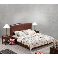 Buy cheap Glassic design of Leisure Bedroom Furniture Upholstered Headboard Bed by True Leather with High density Sponge covered from wholesalers