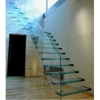 Buy cheap Floating Strong Glass Treads Staircase With Glass Balustrade Design Cheap Price Glass Stairs from wholesalers