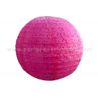 Buy cheap Round Pink Blue Eyelet Paper Lantern , multi colored paper lanterns for bedrooms from wholesalers
