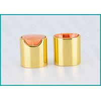 Buy cheap 24/410 Shiny Gold Disc Top Cap / Bottle Caps And Closures With Orange Actuator from wholesalers