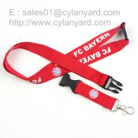 Buy cheap Safety release polyester lanyard with metal thumb hook and plastic breakaway buckle, from wholesalers