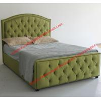 Buy cheap Water green fabric bed by upholstery pad headboard in button and antique nail for Apartment Bedroom suite product