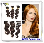 Buy cheap Premium virgin hair double weft brazilian human hair weaving 30'' brown hair from wholesalers