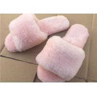 Buy cheap Pink / Gray Ladies Open Toe Sheepskin Slippers With Soft Rubber Sole from wholesalers
